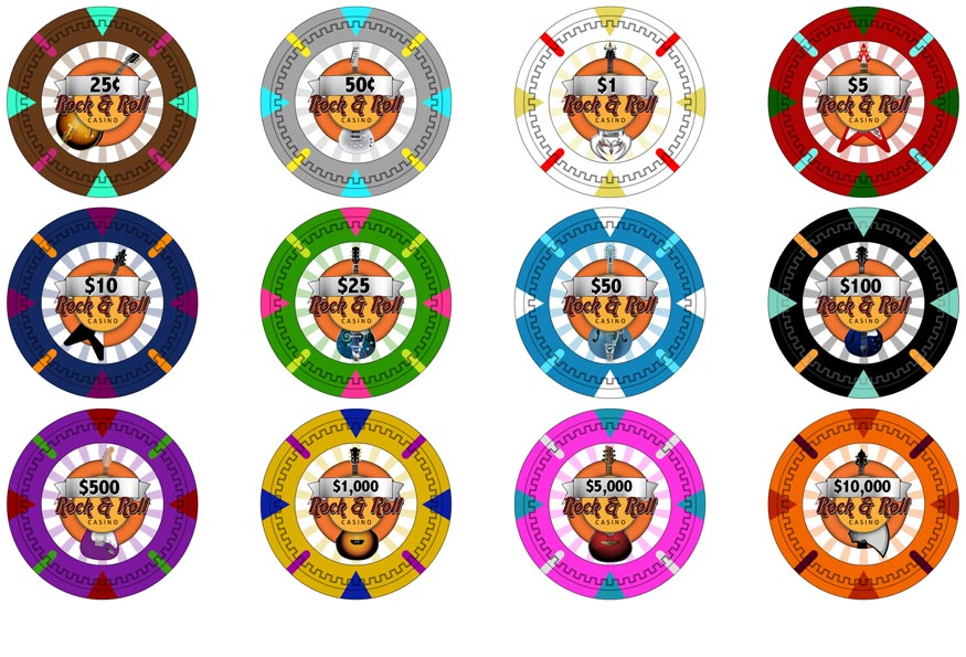 Claysmith Gaming Rock and Roll Casino Poker Chips
